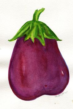 Purple  Eggplant Painting watercolor vegetable by SharonFosterArt, $10.00