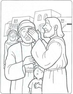 healing the blind man | Bible Coloring Pages | Pinterest | Jesus ...