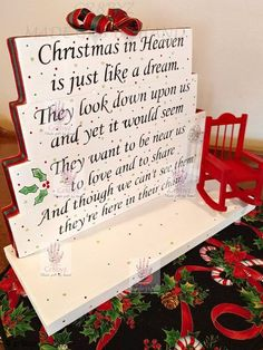 Christmas in Heaven table top display by Own this beautiful handmade Christmas in Heaven poem table top display. Use it as decor or your centerpiece . Christmas Signs, Christmas Projects, Holiday Crafts, Christmas Holidays, Christmas Ideas, Holiday Ideas, Christmas Stuff, Christmas Quotes, Winter Holiday