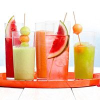Fresh Melon Quenchers. Looks SO refreshing! Would be a nice alternative to juice for kids, too!