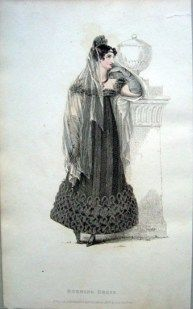 Evening Dress, Full Mourning, 1817. Click the link to read a great article on Regency mourning from Jane Austen's World. --Elisa Braden