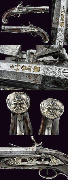 A pair of flintlock pistols by Vidalesio, Naples, ca. 18th century.