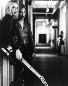 """Ewan McGregor and fellow actor Johnathan Rhys Meyers on the set of the movie they star in, """"Velvet Goldmine"""""""
