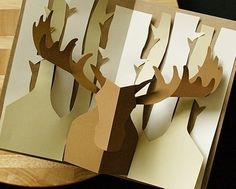 Items similar to Kirigami Moose Pop-up Card, Make Yourself on Etsy, a global handmade and vintage marketplace. Kirigami Pop Up, Origami And Kirigami, Origami Paper, Origami Templates, Box Templates, Arte Pop Up, Pop Up Art, Tarjetas Diy, Karten Diy