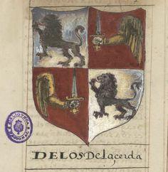 Armas de Los De La Cerda. Nobiliario original de Juan Pérez de Vargas MSS/3061 Fol. 21r Medieval, Ex Libris, Crests, 16th Century, Middle Ages, Book Design, Renaissance, Maya, Vintage World Maps