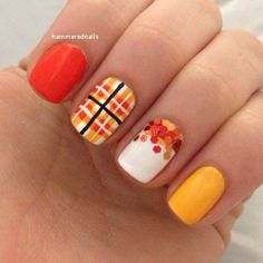 Eye Catching Fall Nails Art Design Inspirations Source by npaolaprieto . Funky Nails, Love Nails, My Nails, Plaid Nail Art, Plaid Nails, Nails Gelish, Thanksgiving Nail Art, Fall Nail Art Designs, Plaid Nail Designs