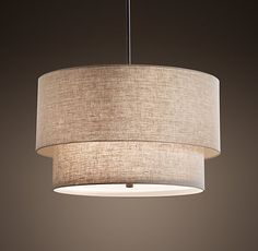 Two-Tier Round Linen Shade Pendant - MASTER BEDROOM? COULD GET REALLY CLOSE TO CEILING