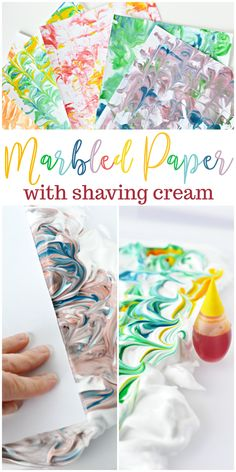 Diy marbled paper with shaving cream. art activities for kidsart Diy And Crafts Sewing, Arts And Crafts, Diy Crafts, Crafts For Teens, Diy For Kids, Shaving Cream Painting, Paint With Shaving Cream, Shaving Cream Crafts For Kids, Diy Paper