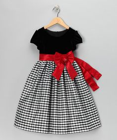 Jayne Copeland Black & Red Velvet Gingham Cap-Sleeve Dress - Toddler & Girls