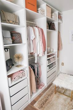 Cloffice Makeover Reveal Money Can Buy Lipstick Cloffice Tour Closet Office WalkIn Closet Custom White and Glass Closet Ikea Pax Wadrobe Pax Wardrobe Idea Organiz. Small Apartment Organization, Closet Organisation, Clothing Organization, Organization Ideas, Bedroom Organization, Clothing Storage, Apartment Goals, Small Apartment Closet, White Apartment