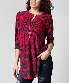 Love this Magenta Floral Notch Neck Pin Tuck Tunic - Plus by Reborn Collection on #zulily! #zulilyfinds
