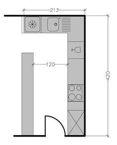 L-shaped kitchen plan: 8 examples to optimize space Kitchen Layout Plans, Open Plan Kitchen, Small Kitchen Cabinets, L Shaped Kitchen, Kitchen Hardware, Shabby Chic Kitchen, Cuisines Design, Küchen Design, Bathroom Interior Design