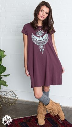 CRYSTAL MOON ORGANIC T-SHIRT DRESS | Basic T-Shirt Dress | Dress with Pockets | Soul Flower