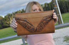 my fav snakeskin leather clutch