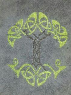Tree of life on grey.