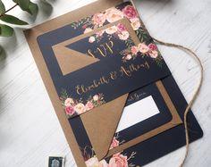 Marina de guerra Floral invitación de la boda de la floración con emparejar RSVP - muestra