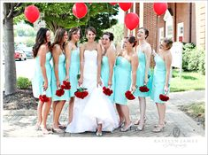 I love the teal with the red! balloons :) Wedding Colors??? :D :D