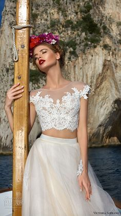 victoria soprano 2017 bridal cap sleeves illusion jewel neck heavily embellished bodice crop top 2 piece romantic a  line wedding dress sheer lace back chapel train (1) mv zv -- Victoria Soprano 2017 Wedding Dresses