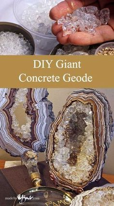 DIY Giant Concrete Geode - Made By Barb - Simple step by step instructions to ca. - DIY Giant Concrete Geode – Made By Barb – Simple step by step instructions to cast, paint and a - Concrete Crafts, Concrete Art, Concrete Projects, Resin Crafts, Resin Art, Diy Projects, Recycled Crafts, Concrete Molds, Concrete Design