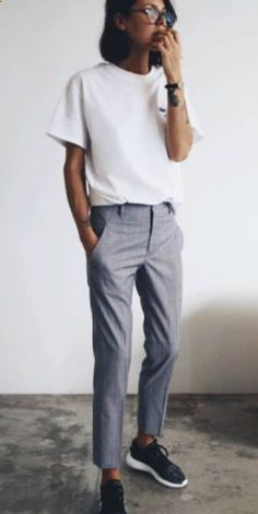 Petra tomboy attire grey slacks adidas sneakers white tee classic boyish style. Trousers: Jil Sander, Tee: The Undone Store, Shoes: Adidas.