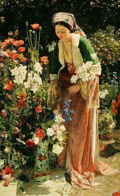 flowers in pre raphaelite art