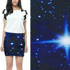 Womens-Blue-Digital-Galaxy-Starry-Sky-Space-Print-Stretch-Mini-Skirt-A-line-M-L