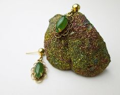 1960s Filigree Dangling Genuine Jadeite (NOT Dyed) Earrings, Gold Filled, Vintage, USA Hallmark.   by TampicoJewelry, $89.00