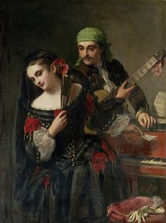 """John Phillip ~ The Music Lesson ~ John Phillip (1817-1867) was a Victorian era Scottish painter best known for his portrayals of Spanish life. He started painting these studies after a trip to Spain in 1851. He was nicknamed """"Spanish Phillip""""."""
