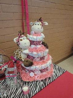 Diaper Cake for twin baby girls!