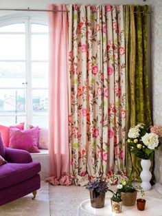 multi colour/pattern extra long curtains for our livingroom. Maybe not these exact colors but similar. Then creamy sheers all the way across.