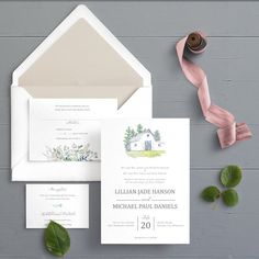 Country Barn Watercolor Wedding Invitations - Rustic Invitation - Country Farm Marriage Ceremony Invites, Custom - Hand Painted White Barn By Ivory Isle Designs - Let us custom paint your wedding venue! Wedding Invitation Samples, Rustic Invitations, Watercolor Wedding Invitations, Wedding Stationery, Stationery Design, As You Like, Wedding Colors, Wedding Venues, Marriage