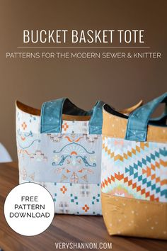Bucket Basket Tote - FREE Sewing Pattern @ VeryShannon