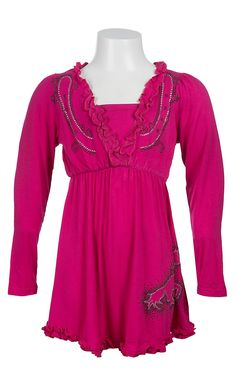 Cowgirl Hardware® Girls Pink with Scatter Rhinestud Horse Long Sleeve Dress