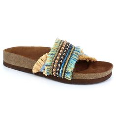 Dolce by Mojo Moxy Chisomo Women's Slide Sandals, Size: 6.5, Turquoise/Blue (Turq/Aqua)