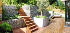 incredible gabion wall..The Landscape Architect - Garden Design, London,UK 07875 203901