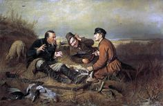 "Vasily Perov, 1871, Hunters Rest, rifle, dog, Bird, rabbit, 20""x14"" CANVAS ART"