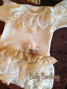 Ruffled Vintage Lace Onesie Bodysuit Birthday Party by Babybonbons