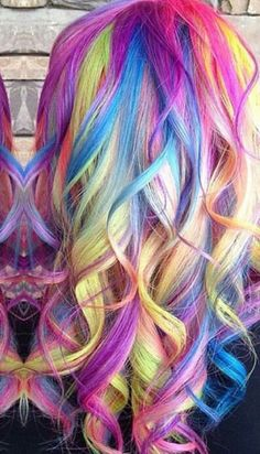 Rainbow curly dyed hair