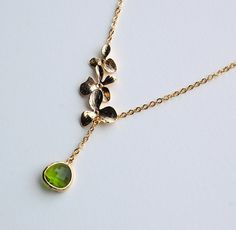 Gold Orchid Lariat with Dark Peridot Necklace, gift, mother, sister, daughter, bridesmaid gift, birthday, wedding jewelry, autumn
