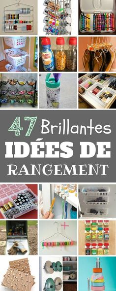 47 BRILLANTES IDEES DE RANGEMENT Home Organisation, Organization Hacks, Home Hacks, Getting Organized, Interior Design Living Room, Home Deco, Diy And Crafts, Sweet Home, Decoration