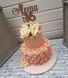 Shaz on 2 tier buttercream cake in a blush pink, piped rose, drips and cream flowers to celebrate Aleena turning 16 . Topper provided by customer 2 Tier Birthday Cakes, Sweet 16 Birthday Cake, Birthday Cakes For Teens, Beautiful Birthday Cakes, Beautiful Cakes, Birthday Ideas, 21st Birthday, Birthday Cake Girls Teenager, Pink Birthday