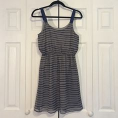 Blue Striped Dress Casual blue and grey striped dress! Cute for spring and summer time! Xhilaration Dresses