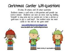 Christmas Caroler WH-questions FREE. Repinned by SOS Inc. Resources. Follow all our boards at pinterest.com/sostherapy/ for therapy resources.