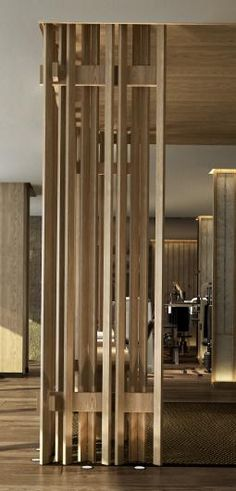room screen, wooden detail | floor uplights
