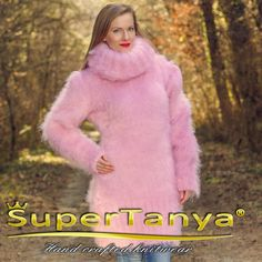 SuperTanya hand knitted mohair sweater dress in pink by supertanya
