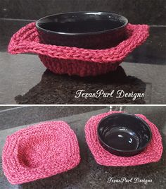 "Free Knitting Pattern for Soup Cozy - These versatile Soup Day bowl cozies can go from microwave to table. They are designed to go in the microwave with your bowl so you can safely lift it out by the corners without burning yourself on the bowl. I think they would also help keep soup hot and look cute on the table. If you're not having soup, they make cute little baskets. Fits most 6"" bowls. Knit with double strands of cotton worsted. Designed by Debbie Caldwell of Texas Purl Designs"