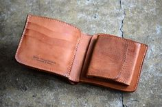 ROBERU-Short-Wallet-Shading-Leather-Camel-Hand-made-TAKUMI-Japan-New