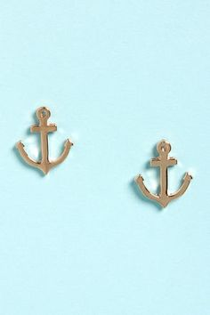 Delta Gamma or Alpha Sigma Tau ETSY Anchor Earrings Sorority