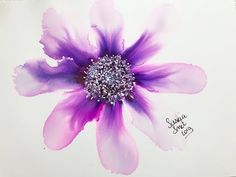 Alcohol Ink Purple Flower with text explaining tutorial. Alcohol Ink Crafts, Alcohol Ink Art, Air Brush Painting, Alcohol Ink Painting, Linocut Prints, Art Prints, Block Prints, Engraving Printing, Wood Engraving