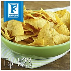 Set a wine or margarita glass in the middle of a large serving bowl full of chips, and fill the glass with a dip of your choice to create an instant chip and dip set.
